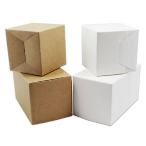 Christmas Gift Box White Brown Kraft Paper Present Wrapping Boxes Candy Jewelry