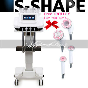 S shape Ultrasound Rf Ems Electroporation Vacuum Slimming Machine With Trolley