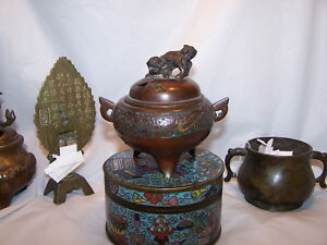 Antique Chinese Bronze Brass Incense Burner Censer Dragon Champleve Lion Qing