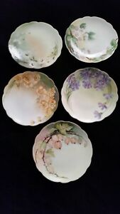 Victorian Porcelain Plate Lot Of 4 Hand Painted