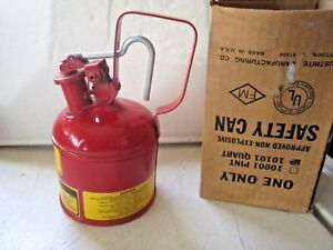 Vintage Justrite 1 Quart Explosive Proof Safety Can 10101 Nos