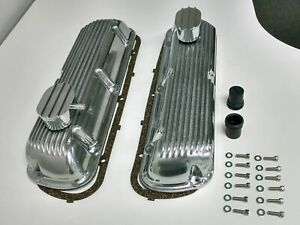 Sb Ford Finned Aluminum Valve Cover W Breather Kit Sbf V8 260 289 302 351w