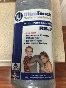 Lot Of 3 denim House Insulation Recycle Cotton Roll Acoustic Sound Proofing R6 7