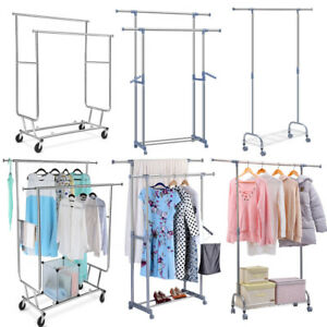 Heavy Duty Adjustable Rolling Garment Rack Clothes Rail Hanger Storage Organizer