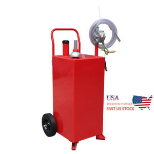 Us 30 Gallon Manual Gas Caddy Fuel Diesel Transfer Tank Container W Rotary Pump