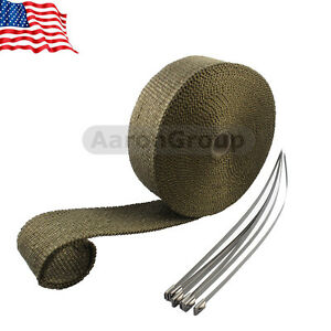 1 X Titanium Exhaust Header Heat Wrap 2 X 50 Ft Roll With Stainless Ties Kit