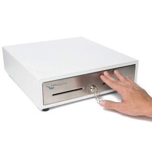 Manual Push Open Cash Drawer With Ringing Bell 4 Bill Slots 5 Coin Trays 13 In