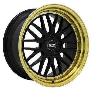 18x9 5x108 Str 601 Classic Black Gold Lip Made For Ford Volvo