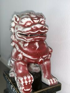 Rare Antique Chinese Foo Dogs Lion Pair 6 Porcelain Ceramic Brown Red And Gray