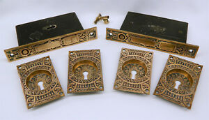 Antique Eastlake Victorian Brass Pocket Door Hardware Locks Pulls Plates