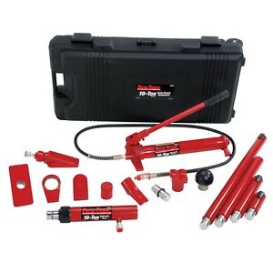 Porto Power B65115 Black Red Hydraulic Body Repair 19 Piece Kit 10 Ton Capa
