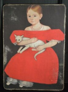 Handmade Primitive Folk Art Girl In Red With Cat Print On Canvas Board 8x10