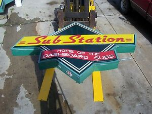 Large Restaurant Neon Substation Sign Sub Sandwiches Pizzas Home Cooked Meals 9