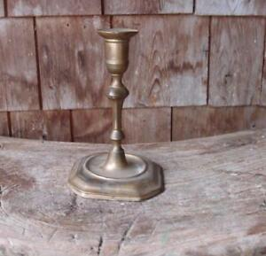 18th C Antique Brass English Queen Anne Single Candlestick Early Lighting