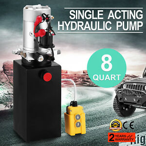 8 Quart Single Acting Hydraulic Pump Dump Trailer Car Power Unit 12v