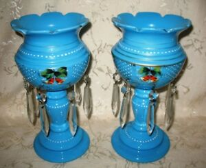 Outstanding Victorian Pair Of Blue Bristol Glass Lusters 10 1 2 Height