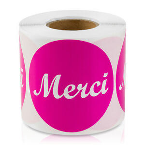 Merci French Thank You Stickers Circle Hello Greet Labels 2 Round 10 Rolls