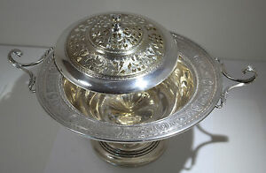 International Sterling Silver Wedgwood Tureen Footed Centerpiece Pierced Lid