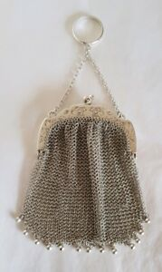A Sterling Silver Mesh Link Purse London Import Mark 1912 By Paul Ettlinger