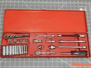Snap On Tools Sae 1 4 Drive General Service Socket Ratchet 34pc Set Metal Box Dr