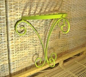 Vintage Wrought Iron Wall Shelf Plant Stand Avocado Green Mid Century Modern