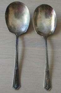 1924 R C Co Bouquet Serving Spoons Vintage Large 9 Silverplate Casserole Two