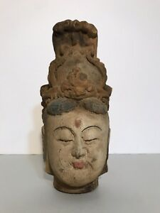 Antique Carved Hand Painted Kwan Yin Buddha Head