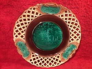 Plate Antique Wedgwood Majolica Reticulated Plate Fountain Scene C1800 S Em140