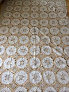 Antique 1800s Bed Throw Cover Linen Lace Panels Double Bedspread Sham Pristine