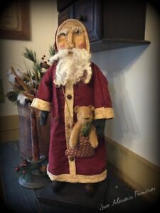 Primitive Christmas Belsnickle Santa Claus Hand Sculpted Clay Face W Teddy Bear
