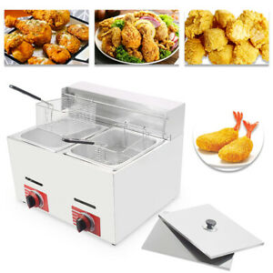 Commercial Countertop Gas Fryer Gf 72 Propane lpg 20l W Metal Tube 2 Basket