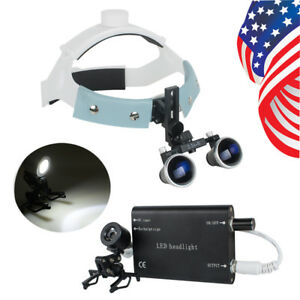 Usa Dental Binocular Loupes Magnifier Led Headlight Headband Kit 3 5x r Black