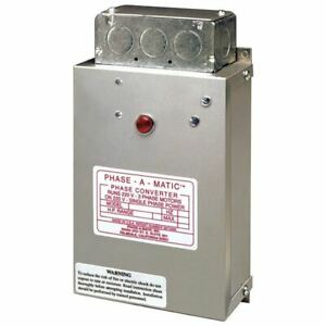 Phase a matic Static Phase Converter pc 600 hd 3 5hp 15 2 Max Amps