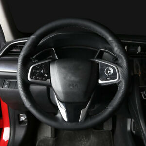 Stitch Sew Black Leather Steering Wheel Cover For Honda Civic 10th Gen 2016 2018