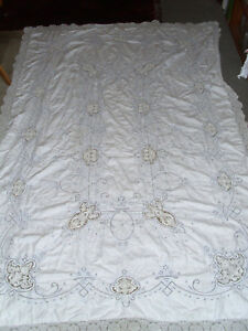 Antique Point De Venise Linen Tablecloth Cream Linen Blue Embroidery 62 X 95