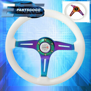 Universal 6 Bolt 345mm Steering Wheel Neo Chrome 3 Spoke White Wood Typer