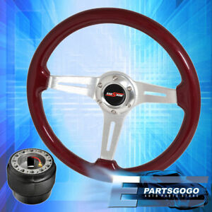 Red Wood Chrome Aluminum Center Deep Dish Steering Wheel + Hub For 88-91 Civic