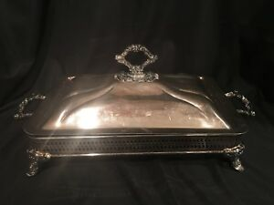 Vintage Silverplate Casserole Or Buffet Server With Lid No Liner 14 X9