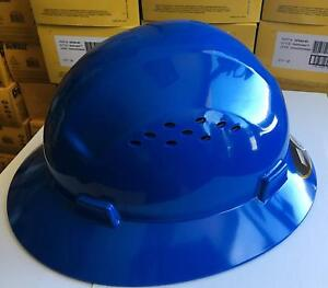 Hdpe Blue Full Brim Hard Hat With Fas trac Suspension