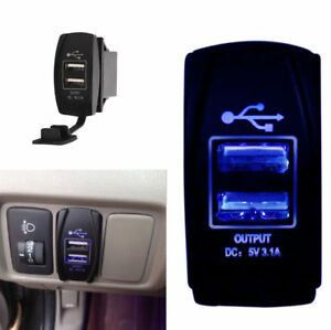 12v 24v 3 1a Waterproof Dual Usb Car Power Charger Port Socket Blue Led Light
