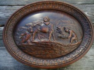 Antique Black Forest Carved Wood Wall Plaque Jesus Christ Wood Carving Angel Cow