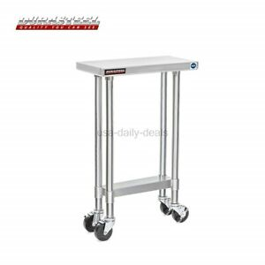 Durasteel Stainless Steel Work Table 24 X 48 X 34 Height W 4 Caster Wheels