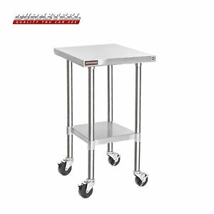 Durasteel Stainless Steel Work Table 24 X 18 X 34 Height W 4 Caster Wheels