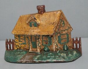 Antique Cottage W Thatched Roof Cast Iron Hubley Doorstop Circa 1930 S