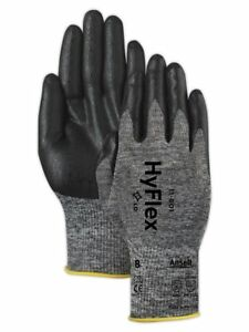 3 6 12 24 Pair Ansell Hyflex 11 801 Foam Nitrile Coating Glove Size 10 11