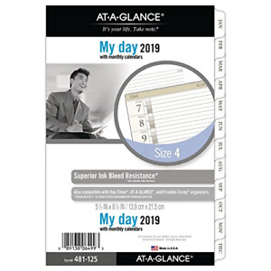 At a glance 2019 Daily Planner Refill Day Runner 5 3 4 X 8 1 2 Desk Size 4