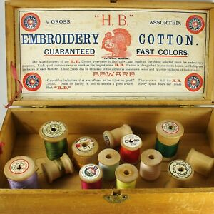 Antique Hb Sewing Cotton Thread Wood Spool Box Mercantile Store Advertising