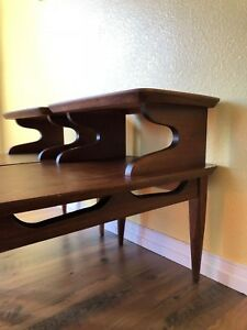Matching Set Of 2 Mid Century Modern Tiered Walnut End Tables