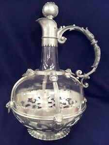 Antique Pewter Mounted Glass Ewer Wine Decanter