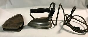 Antique Wrinkle Free Electric Clothes Iron And Stand Still Works